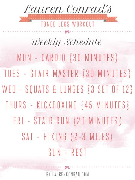 Lauren Conrad's weekly #workout schedule for toned legs