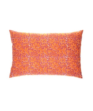 Kerry Cassill Cranberry Orange cotton pillow with goose-down fill (16 by 25 inches), $112, Lala, 949-464-9220.