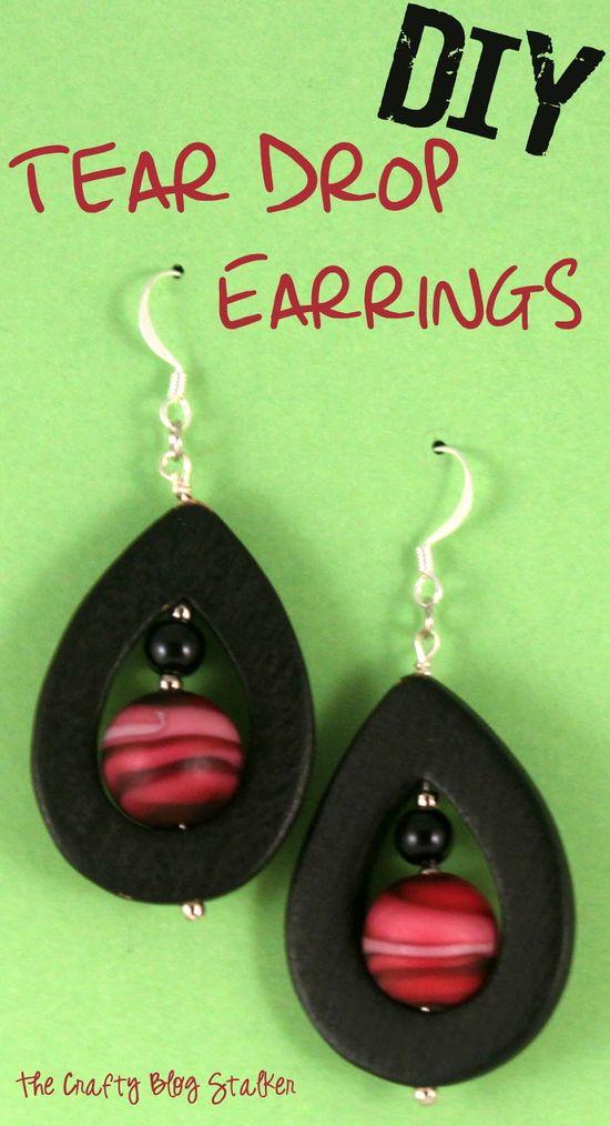 DIY Jewelry Tear Drop Earrings www.thecraftyblog...