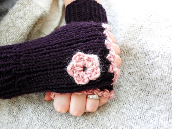 Fingerless Gloves in Deep Purple with Flower. $24.00, via Etsy.