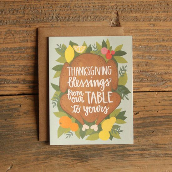 Thanksgiving Blessings Illustrated Card by 1canoe2 on Etsy, $4.50
