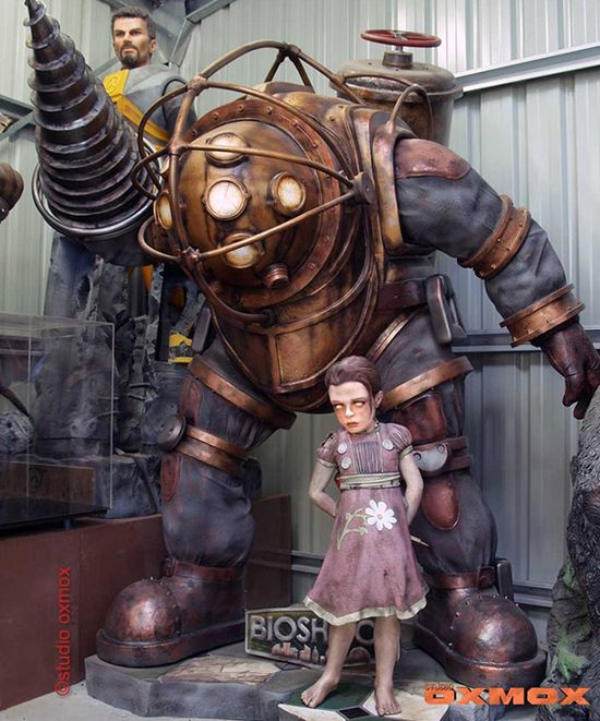 BIOSHOCK - Life Sized Big Daddy and Little Sister Sculpture Now for Sale - omg WANT!