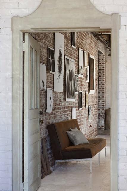 Door detail. Black and white on brick