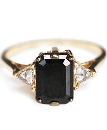Emerald cut black diamond ring.