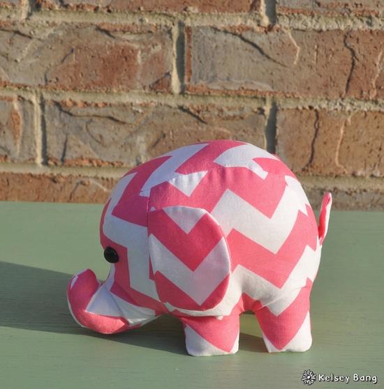 elephant stuffed animal - pink and white chevron. $18.00, via Etsy.