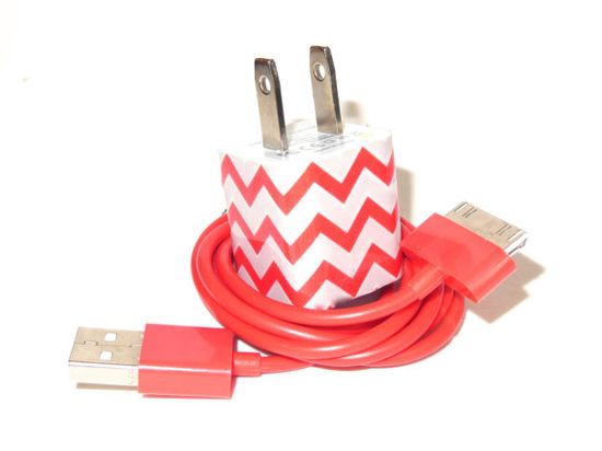 Berry Red Chevron  iPhone Charger on Etsy, $17.00