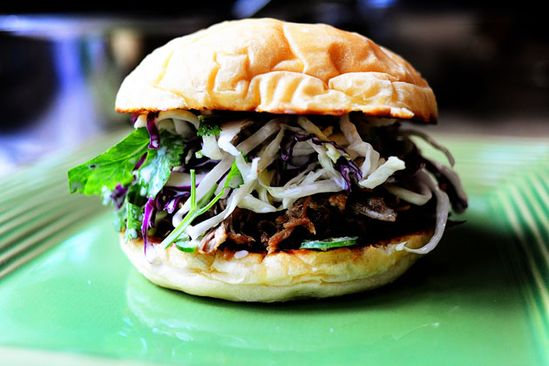 pulled pork sandwiches with cilantro slaw