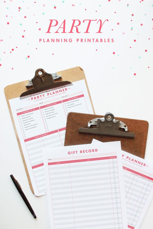 Party Planning Printables