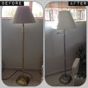 Before and after floor lamp. Made it look more appropriate for the scheme of the room. Nickel finish was better in this case. #rustoleum #target #threshold #diy #decor #decorate #lamp #floorlamp