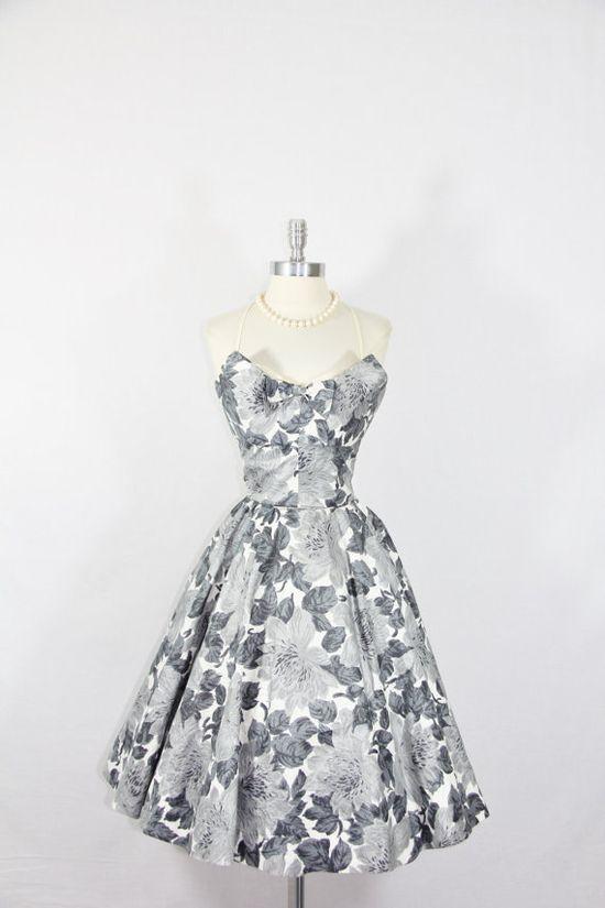 1950's Vintage Dress  Strapless Cotton by VintageFrocksOfFancy, $280.00