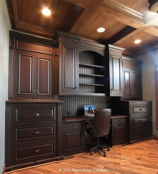One grand office design. #office #dark #warm #deluxe #home #cabinets