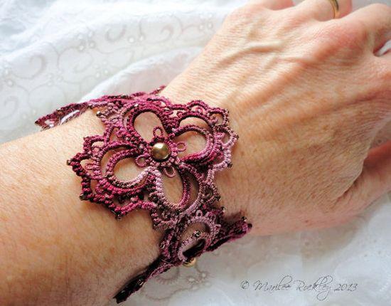 Tatted lace bracelet Arpeggio via Etsy