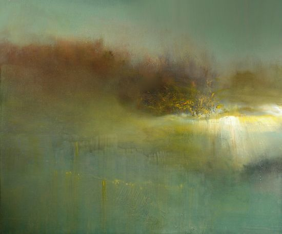 "Maurice Sapiro; Oil, 2013, Painting ""Reflections In A Golden Pond"""