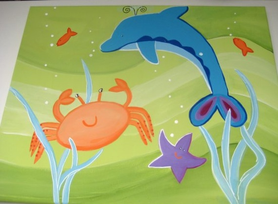 Sea creatures 3 paintings personalized and by thepresentplace, $140.00