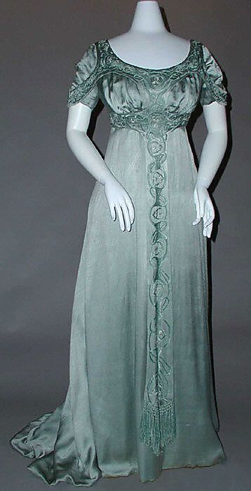 Embroidered green silk satin evening dress by Liberty of London, British, ca. 1910.