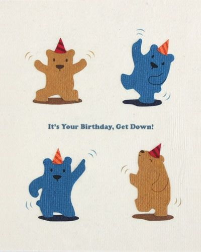 Dancing Bears Handmade Birthday Card