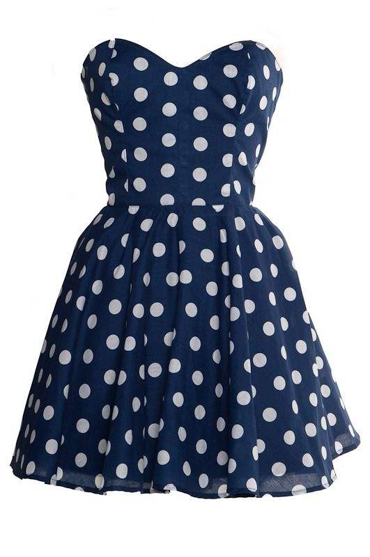 Pin-Up Blue Polka Dot Prom Party Dress by Style Icon's Closet 50s style Vintage Inspired Pin-Up African Print Retro Rockabilly Clothing