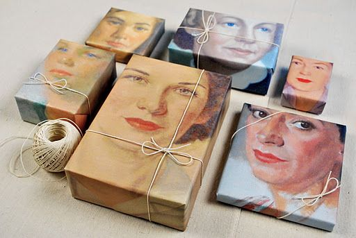 gift wrap made from color copies of vintage portrait paintings