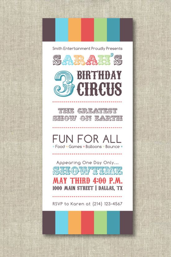 3 Birthday Circus invite
