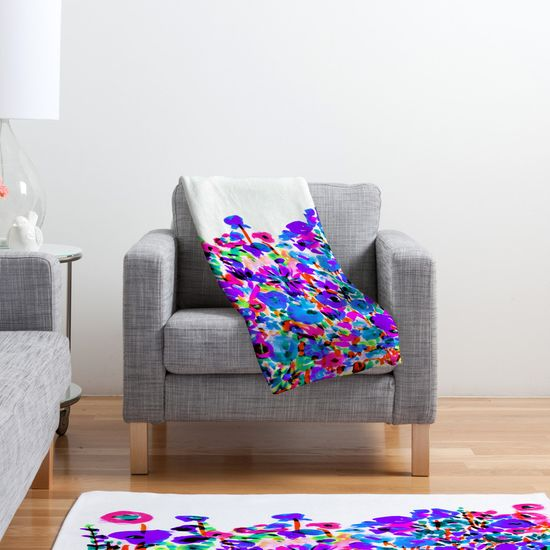 Amy Sia Flower Fields Blue Fleece Throw Blanket – DENY Designs