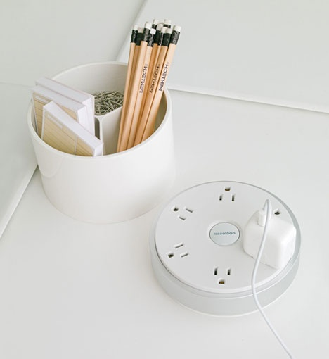 Via www.coolmomtech.com. What a pretty power outlet. #white #gadgets #office