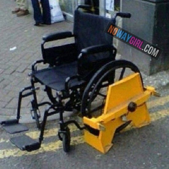 It's getting real out here. I guess you can't park your wheelchair anywhere.