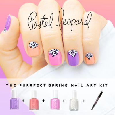 Pastel nails and half moon leopard spots