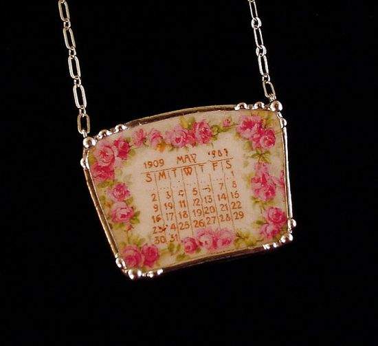Broken China Jewelry necklace May 1909 antique calendar plate pink roses