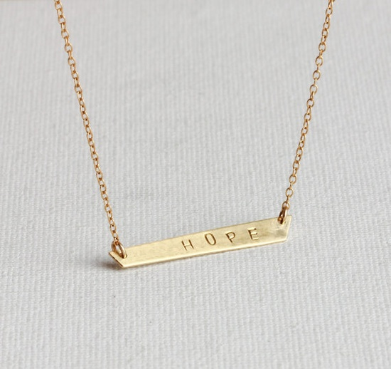 Brass hand hammered HOPE bar - 14k gold filled necklace - everyday simple jewelry