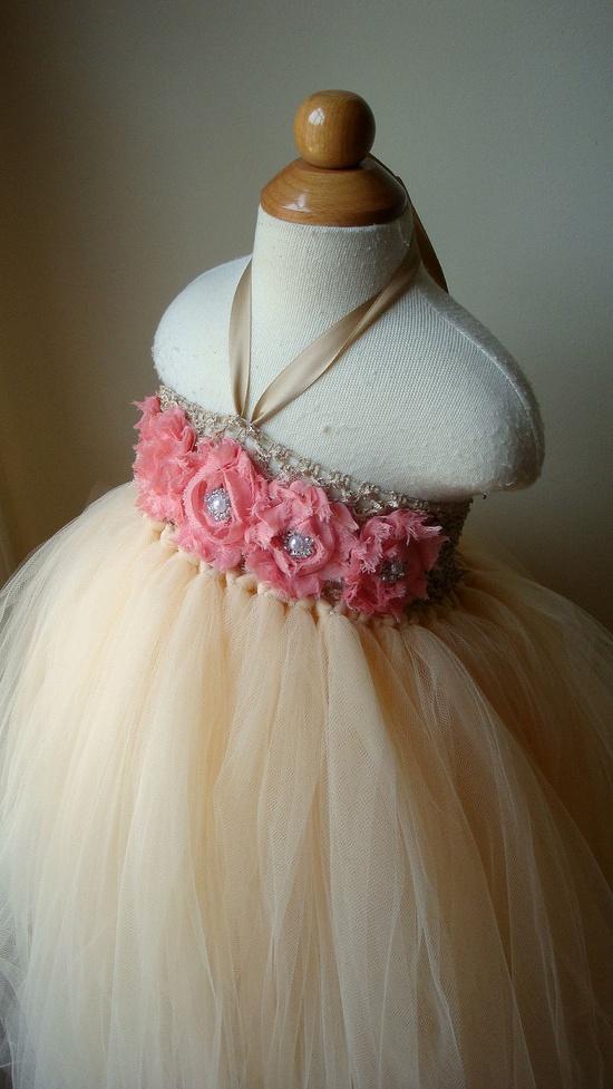 Flower girl dress champagne coral tutu by Theprincessandthebou, $74.00