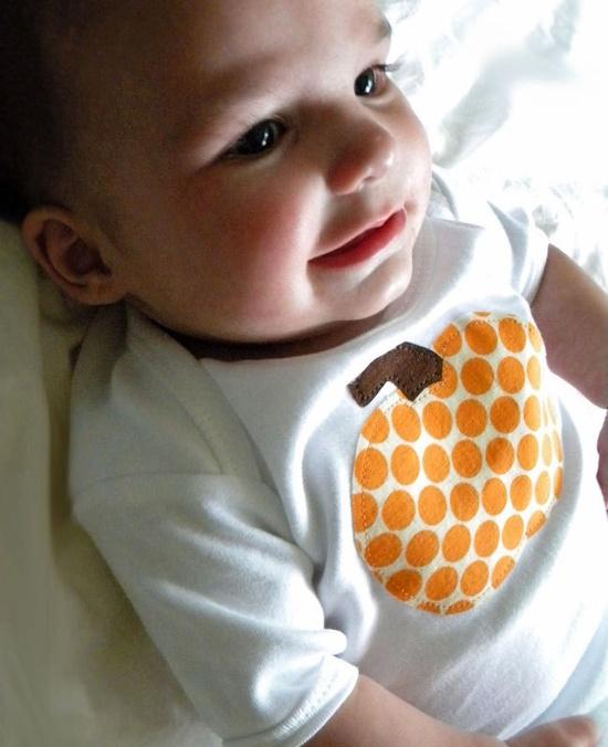 size 0-3 months - Pumpkin Applique Bodysuit - Short Sleeves- Cute Halloween Baby Clothes - Gender Neutral. $13.00, via Etsy.