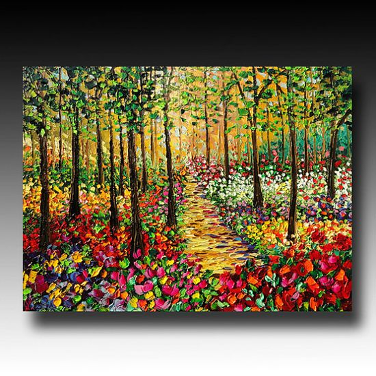 Oil Painting Original  ART Trees Painting Palette Knife by bsasik