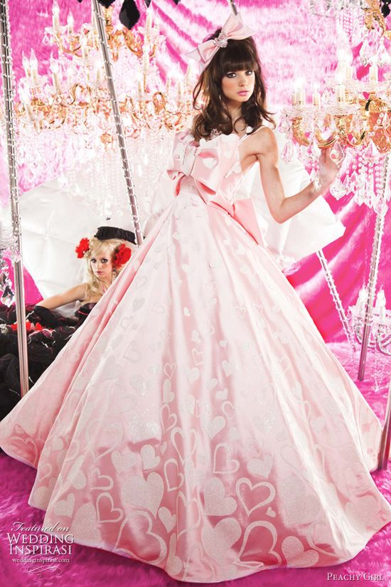 pink wedding gowns 2011 - heart print bridal dress from Peachy Girl