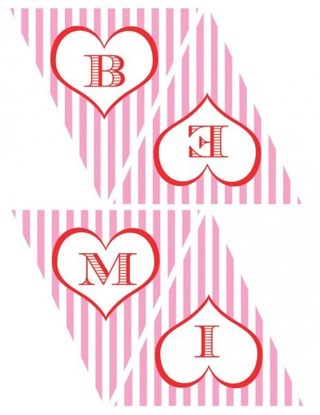 "Valentine printables. Collection includes: party circles, favor tags, candy bar wrappers, mini candy bar wrappers, food tents, and a ""Be Mine"" banner."