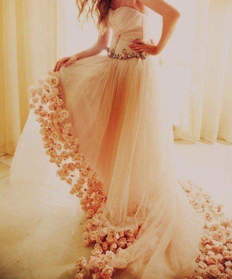Beautiful wedding dress with flower trim
