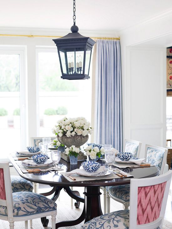 Ashley Whittaker Interiors does dining chairs with a fun contrast print.  Nice