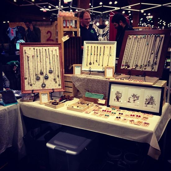 Our booth with my handmade jewelry display! by Aggie Cheung, via Flickr