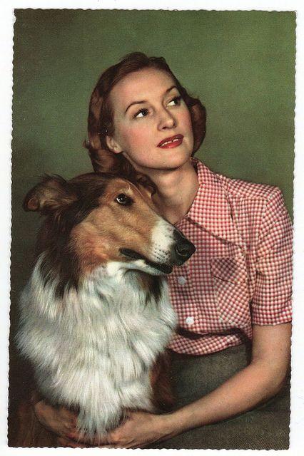 vintage postcard woman with dog