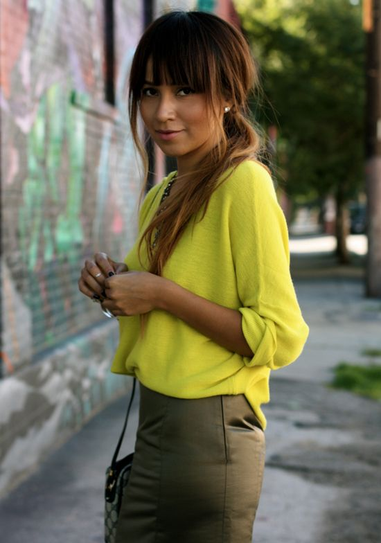 Chartreuse and olive green