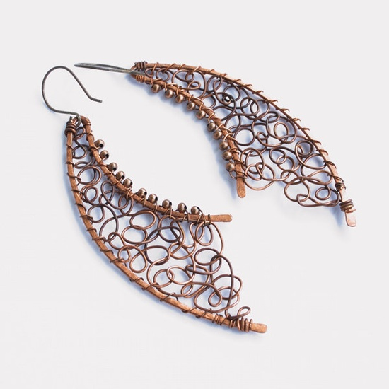 SALE Copper earrings - wire wrapped unique jewelry. $24.00, via Etsy.