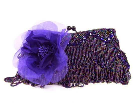 Purple Beaded Floral  Bridal Purse Evening Clutch by bloomsnbrides, $78.00