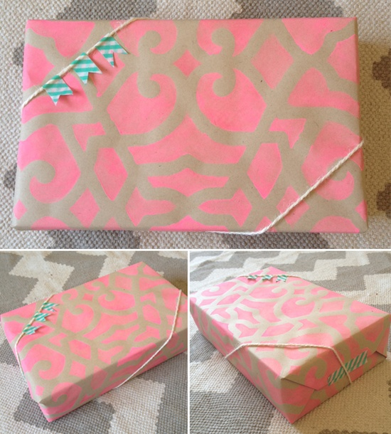 gift wrapping with stencils