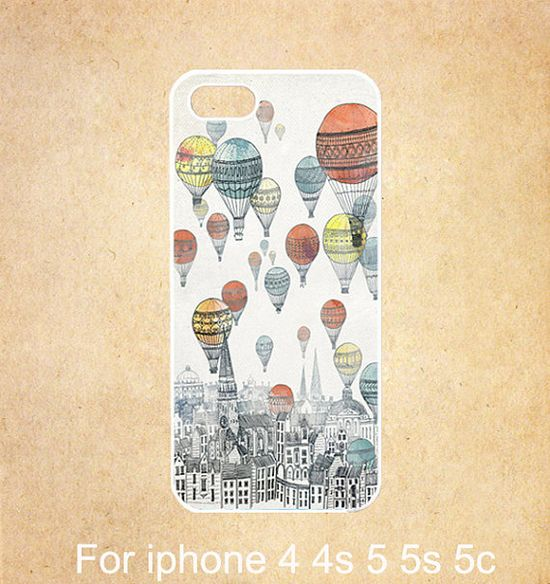 Up Balloons iphone 4 case,iphone 5 case,rubber iphone 5s case , iphone 5c case, for iphone 4 4s 5 5s 5c case,,vintage Old city Balloon on Etsy, $6.99