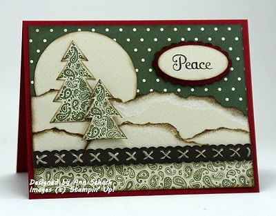Wonderful layers and classic holiday season hues at work on this beautiful Christmas card. #Christmas #card #handmade #card_making #paper_crafts #scrapbooking #paper_piecing