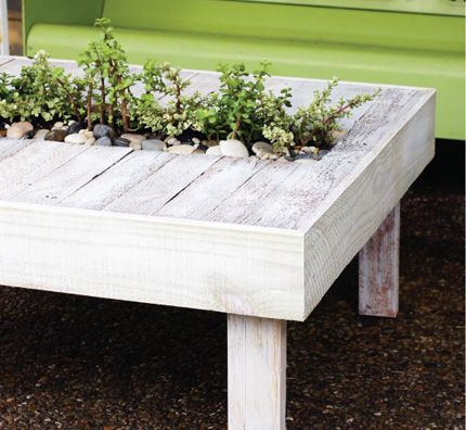 Living Pallet Table.  Indoor or outdoor table with living garden center made from upcycled pallet.