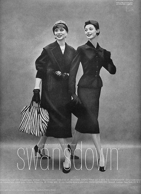 Love the handbag and the sophisticated suit on the right. #vintage #fashion #1950s #ad