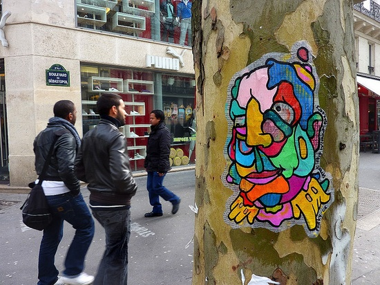 Parky Doodles from UK, pasted in Paris;  part of street art without borders.