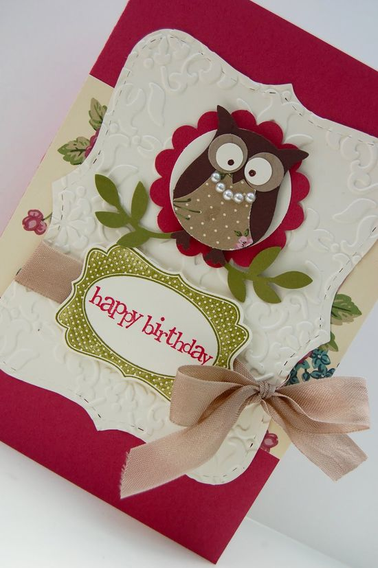 .happy birthday owl card, stampin up