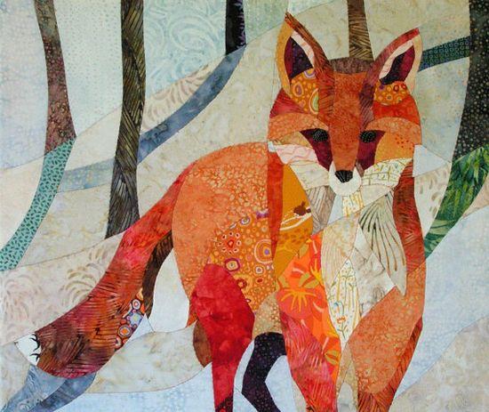 fox art quilt