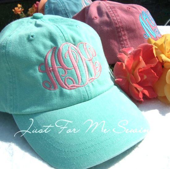 Monogrammed Baseball Hat. $16.99, via Etsy. Great colors!